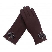 Ladies Elegant Warm Winter Gloves Driving Gloves Bow Brown