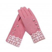 Ladies Warm Winter Gloves Driving Gloves Flowers Pink
