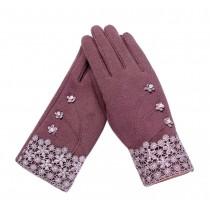 Ladies Warm Winter Gloves Driving Gloves Flowers Purple
