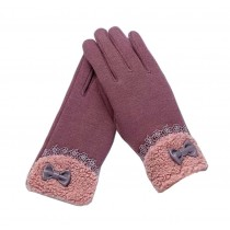 Ladies Pretty Warm Winter Gloves Driving Gloves Bow Purple