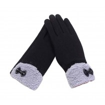 Ladies Pretty Warm Winter Gloves Driving Gloves Bow Black