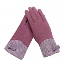 Woman Pretty Warm Winter Gloves Driving Gloves Bow Purple