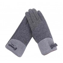 Woman Pretty Warm Winter Gloves Driving Gloves Bow Grey