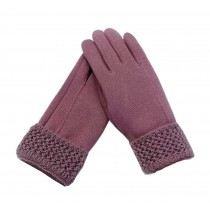 Woman Elegant Warm Winter Gloves Driving Gloves Purple