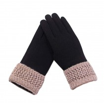 Woman Elegant Warm Winter Gloves Driving Gloves Black