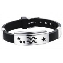 12 Zodiac Bracelets Titanium Steel Hand Ring Wristbands - Aquarius