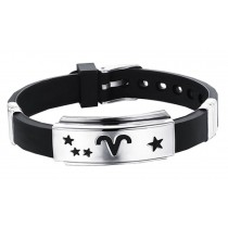 12 Zodiac Bracelets Titanium Steel Hand Ring Wristbands - Aries