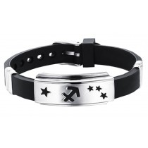 12 Zodiac Bracelets Titanium Steel Hand Ring Wristbands - Sagittarius