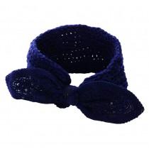 Bowknot Navy Knitted Hairband Wool Headbands Headwrap for Women