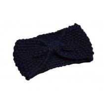Cute Broadside Knitted Hairband Wool Headbands Sport Headwrap Bow Navy