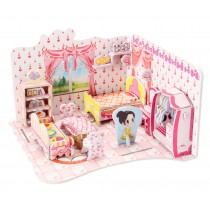 Cute 3D Puzzle Educational Toy DIY Assembled Jigsaws, Sweet Bedroom Model