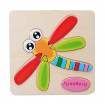 2 Pcs Kids Stereoscopic Jigsaw Puzzle Wooden Puzzle, Dragonfly