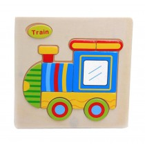Cartoon Train Kids 3D Jigsaw Puzzle Wooden Puzzle Set Of 2