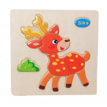 Lovely Sika 3D Wooden Jigsaw Puzzle For Child 2 Pieces