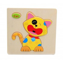 Cartoon Cat Children Wooden Stereoscopic Jigsaw Puzzle 2 Pcs