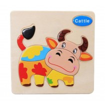 Set Of 2 Cartoon Cattle 3D Wooden Jigsaw Puzzle For Child