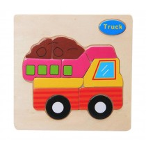 2 Pieces Children Wooden Stereoscopic Jigsaw Puzzle, Truck