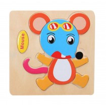 Animal Mouse Kids Wooden 3D Jigsaw Puzzle 2 Pieces