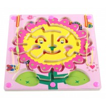 Double-Sided Wooden Kids Toy Maze Puzzle Educational Maze Game Ludo Game, Flower
