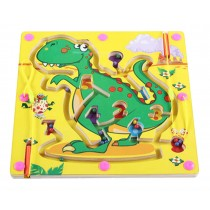 Double-Sided Wooden Kids Toy Maze Puzzle Educational Maze Game Ludo, Dinosaur