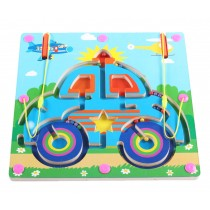 Double-Sided Wooden Kids Toy Maze Puzzle Educational Maze Game Ludo, Car