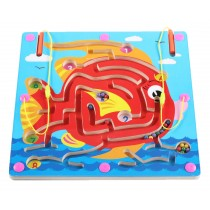 Double-Sided Wooden Kids Toy Maze Puzzle Educational Maze Game Ludo, Fish