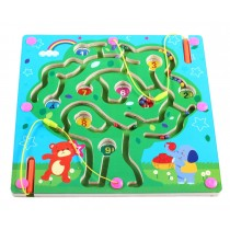 Double-Sided Wooden Kids Toy Maze Puzzle Educational Maze Game Ludo, Tree