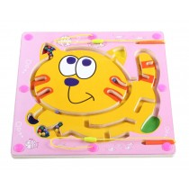 Double-Sided Wooden Kids Toy Maze Puzzle Educational Maze Game Ludo, Cat
