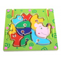 Double-Sided Wooden Kids Toy Maze Puzzle Educational Maze Game Ludo, Hedgehog