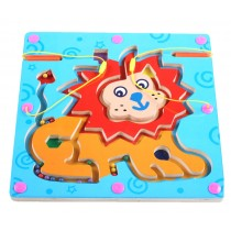 Double-Sided Wooden Kids Toy Maze Puzzle Educational Maze Game Ludo, Lion