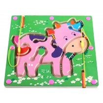 Double-Sided Wooden Kids Toy Maze Puzzle Educational Maze Game Ludo, Cow