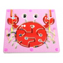Double-Sided Wooden Kids Toy Maze Puzzle Educational Maze Game Ludo, Crab