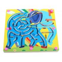 Double-Sided Wooden Kids Toy Maze Puzzle Educational Maze Game Ludo, Elephant