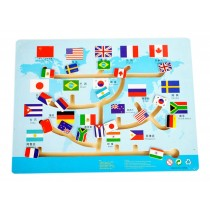 Kids Wooden Toy Preschool Maze Educational Board Game Family Game - Flags