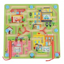 Double-Sided Wooden Kids Toy Maze Puzzle Educational Maze Game Ludo, Traffic