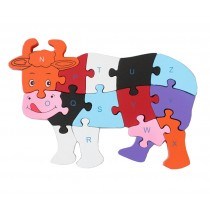 Funny Colorful Wooden Blocks Puzzles Educational Puzzle Jigsaws Dairy Cow