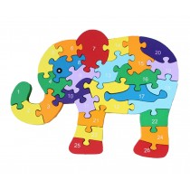 Funny Digital & Letter Wooden Blocks Puzzles Educational Puzzle Elephant