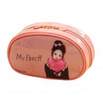 Beautiful Girl Pattern Makeup Case High-grade Cosmetic Bag, Pink