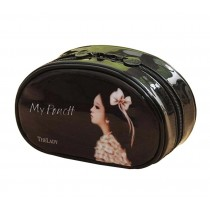 Classic Durable Semirigid Makeup Case Cosmetic Bag For Girls Women, Black