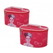 Set of 2 Elegant Portable Makeup Bag Cosmetics Storage Bags, Pink
