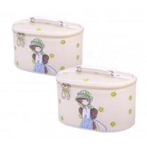 Set of 2 Elegant Stylish Makeup Bag Small Cosmetics Bags Sundries Bags, Beige
