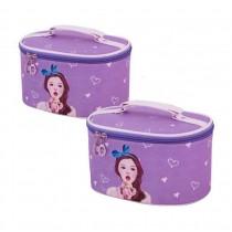 Set of 2 Elegant Makeup Bag Portable Cosmetics Bags/ Sundries Bags, Purple