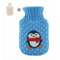 Cute Small Penguin Pattern Blue Plush Hot Water Bottle 500ML