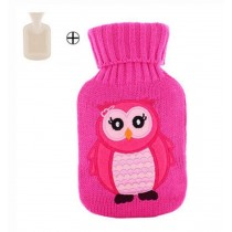 Lovely Small Owl Pattern Plush Hot Water Bottle 500 ML Hand Warmer, Rose