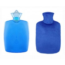 Classic Large Hot Water Bottle/Winter Warmers Gift Crystal Flannel Cover,Blue