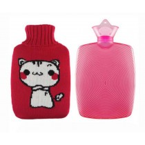 High-quality Lovely Cartoon Cat Hot Water Bottle,Large With Flannel Cover,Red