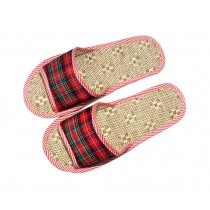 Environmental Protection Flax Mats Home Women Cotton Slippers, Wine Red