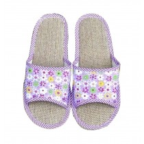 Female Indoor Spring And Summer Cool Linen Slippers/Hotel Slippers, Purple