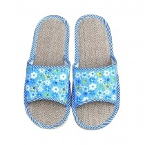 Comfortable Durability Home Linen Floor Cotton Slippers Female, Blue