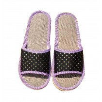 Pollution-free Flax Mats Spring And Summer Cool Slippers Female, Black